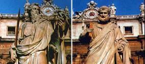 Restauro delle statue di San Pietro e San Paolo.